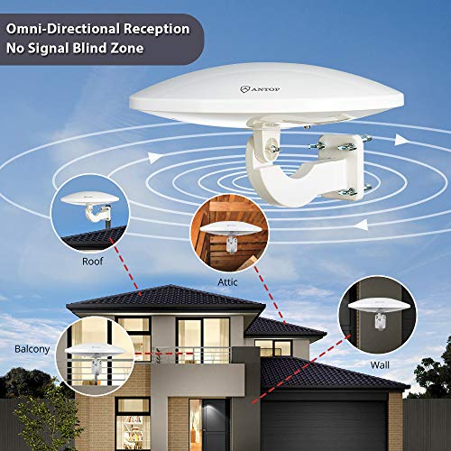 ANTOP 360° Omni-Directional Amplified Outdoor HDTV Antenna 65 Miles Range with Smartpass Amplifier & Built-in 4G LTE Filter Fit Home/RV/Attic Use (33ft Coaxial Cable, 4K UHD Ready) by ANTOP (Image #1)