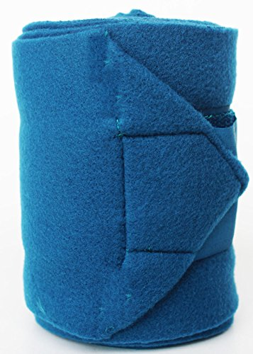 Challenger Equine Leg Care Horse Size Tack Grooming Pack of 4 Fleece Polo Wraps Teal 95J05