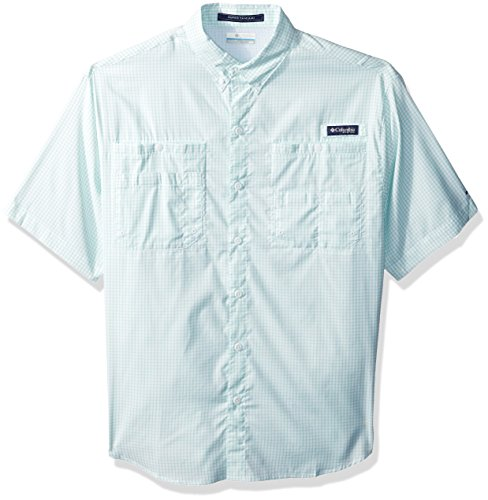Columbia Mens Super Tamiami Short Sleeve Shirt, Kelp Mini Check, Large