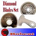 Bobcat TM Set of 3 Diamond Semi Round / V-cut Grout Tile Cut Oscillating Multi Tool Saw Blades for Fein Multimaster Bosch Multi-x Craftsman Nextec Dremel Multi-max Ridgid Dremel Chicago