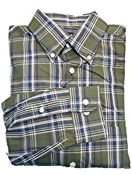 Roundtree & Yorke Classic Leaf Cotton Twill L/S Button-down Collar Shirt Medium