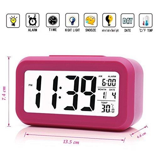 iProtect batteriebetriebener Digital-Wecker mit extra großem Display, Snooze, Datumsanzeige, Temperatur und Lichtsensor in pink