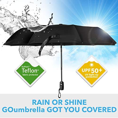 GOumbrella Travel Umbrella Windproof Rain (Teflon Coating) Sun (UPF50) Protection Compact - Auto Open/Close