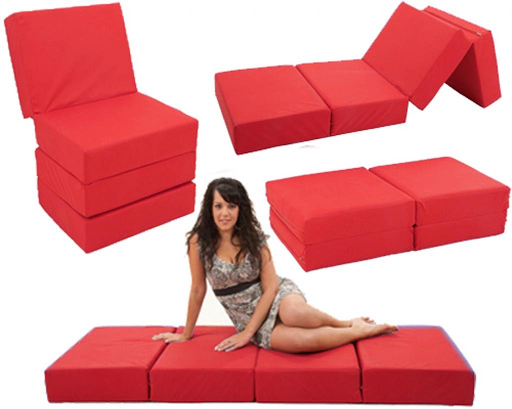 Red FLEXY 4  Multiposition 6  FOAM Chairbed fold out Guest Z chair bed futon (Natural)
