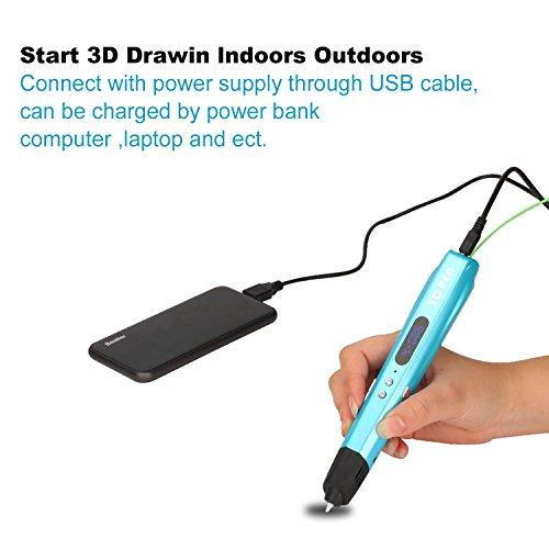 3D Druckstift Stift 3D Pen with EU Adapter + Free PLA Supplies(2M*3Farben) von dreidimensionalen Zeichnungen, Kunstwerken, Kompatibel mit 1,75 mm ABS und PLA - Blau