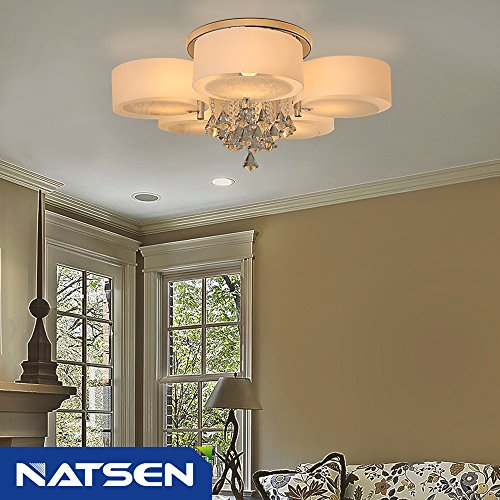Natsen Crystal Ceiling Light Metal Flush Mount Ceiling Light Fixture For Bedroom Living Room