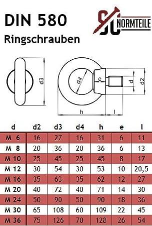 Ringschraube aus rostfreiem Edelstahl A2 V2A - /ähnl /Ösenschraube Ringbolzen - M6 - gegossen und poliert SC-Normteile/® 1 St/ück SC580 DIN 580