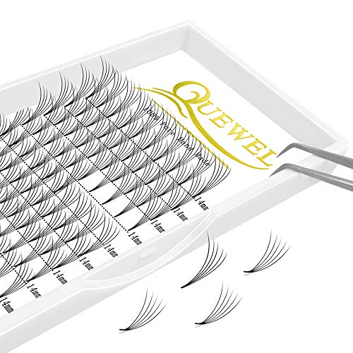 Russian Volume Premade Fans Eyelashes Extension 5D 6D Thickness 0.07/0.10 Curl C/D Length 8-15mm by Quewel(5D-0.07-C, 14mm)