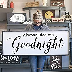 CELYCASY for Her Wedding Gift Always Kiss Me Goodnight Modern Farmhouse for Her for Him