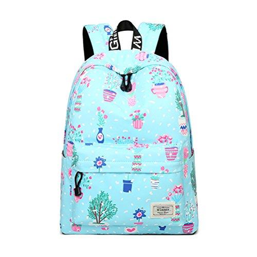 Tejido impermeable y casual Mujer Moda Mochila de gran capacidad de impresión de flores niña mochila de viaje escolar femenina Rosa bolsas de 14 pulgadas Sky Blue
