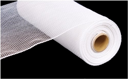 10 Inch x 30 Feet Deco Poly Mesh Ribbon - White Non Metallic : RE130227 -