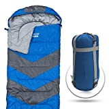 Sleeping Bag - Envelope Lightweight Portable, Waterproof, Comfort With Compression Sack - Great For 4 Season Traveling, Camping, Hiking, & Outdoor Activities. (SINGLE)