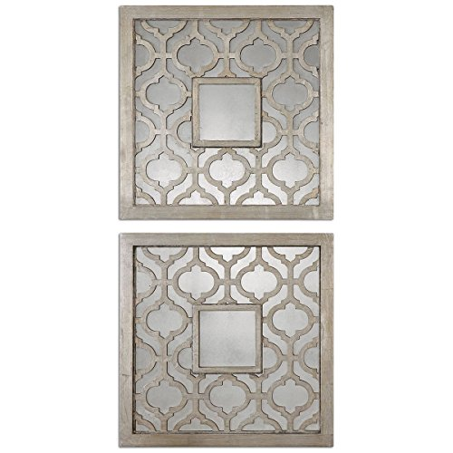 Uttermost Sorbolo Mirror Squares 0.75 x 20 x 20 (Set of 2), Silver Leaf