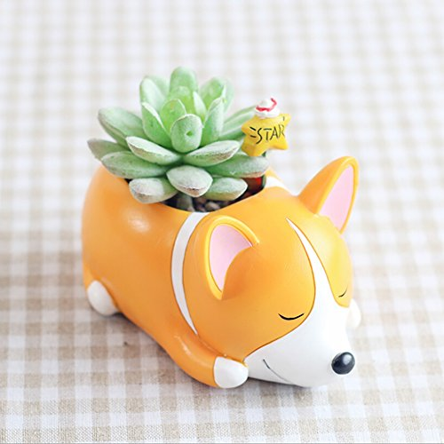 Peyan Cute Sleeping Corgi Animal Succulent Planter Pots with Drainage Resin Mini Flower Pot Garden Plants Vase Desk Flower Decoration