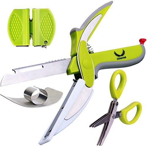 Ethernial Food Chopper Knife - Fast Cutter Non-slip + Herb Scissors, Finger Guard, Sharpener - Smart Kitchen Scissors with Built-in Cutting Board - Salad Scissor Set