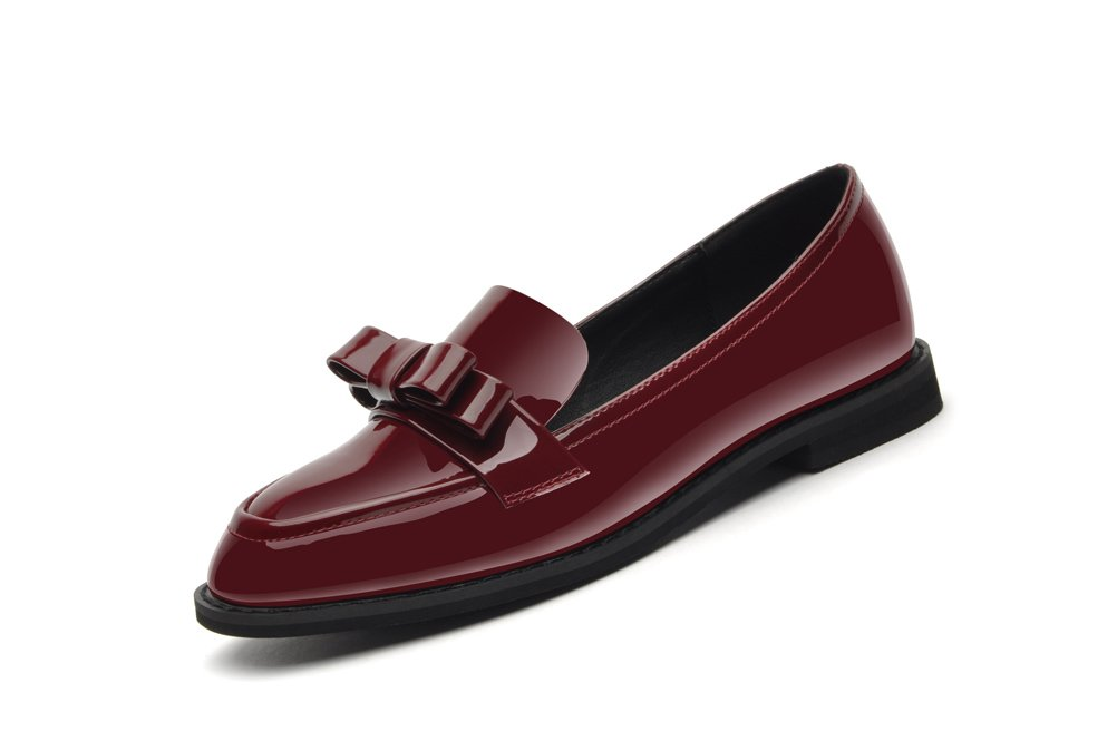 Youxuan Women's Fashion Loafer Flats Low Top Ladies Elegant Walking Shoes With Bow Ornamented Red 5.5M US