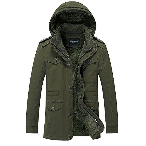 THWS Uomini giacca di sovrarivestimento plus privo di pelucchi lavabile Sau San giacca a vento maglietta verde militare ,5XL