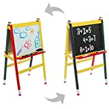 Children's Chalkboard & Whiteboard A-Frame Easel, Kid's Wood Pencil Design Activity Boards