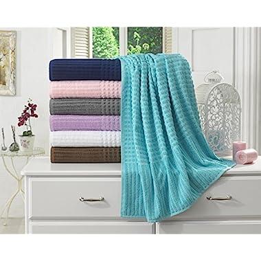 BERRNOUR HOME Piano Collection 100% Turkish Cotton Luxury Bath Sheet, Aqua Blue