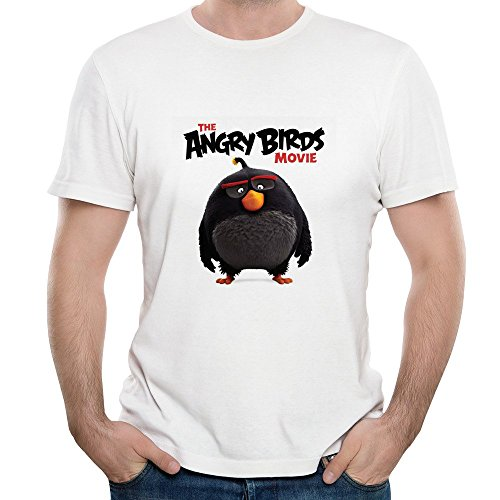 Gody Men's Angry Birds Movie 2 Poster Toons R Toys Pig O-neck Cotton T Shirts White XXL
