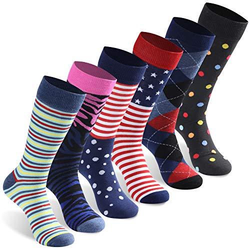 Casual Crew Socks, INCHER Unisex Youngth Dress Socks Crazy Wonder Funky Colorful Socks Pink Black Argyle Nordic Striped Art Patterned American Flag Socks Wedding Groomsmen,6 Pack ()