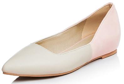 Easemax Damen Elegant Pointed Toe Slipper Flach Loafers Schuhe Beige 33 EU 7bc26576c6