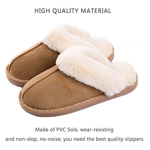 Fur Lined Womens Slipper Shoes Slip On Indoor Outdoor