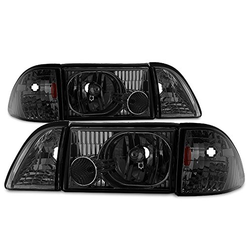 (ACANII - For Smoke 1987-1993 Ford Mustang Headlights Headlamps w/Corner Parking Driver + Passenger Side )