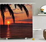Tropical Decor Shower Curtain Set By Ambesonne, Sunrise On The Sea Palm Trees Exotic Holiday Honeymoon Romantic Beach Morning Scenery , Bathroom Accessories, 69W X 70L Inches, Orange Yellow
