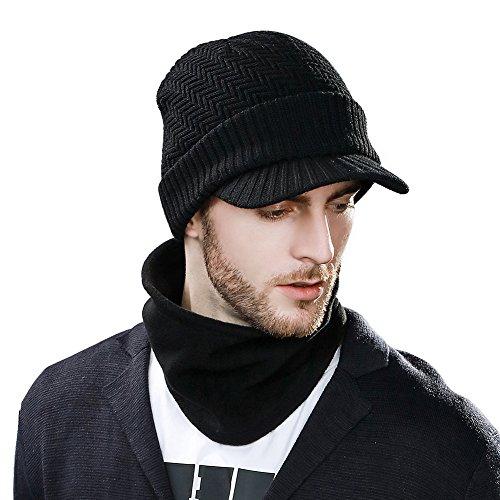 Siggi 2 Piece Hat & Scarf Sets 37% Wool Knit Visor Beanie Mens Winter Hat Brim Cuff Newsboy Jeep Cap Cold Weather Hat Fleece Lined Black