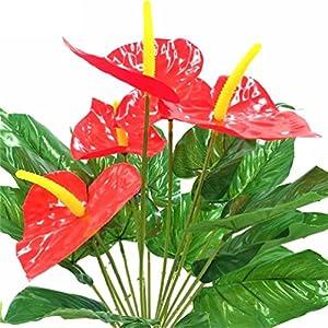 1pc 18heads 5 Anthurium Decorative flowers no vase Artificial Fake Pot Plants 104