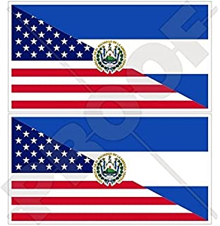 1 3//8 X 2 3//4 INCH EL SALVADOR SET OF 2 COUNTRY FLAG VINYL CAR STICKERS .