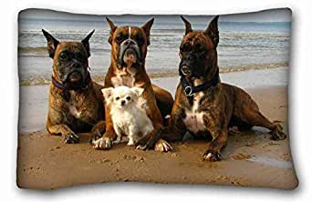 """Custom Characteristic ( Animals sea coast tour Dogs protection Bodyguards defenders situation ) Pillowcase Cover 20""""X30"""" One Side suitable for Full-bed PC-Green-33554"""