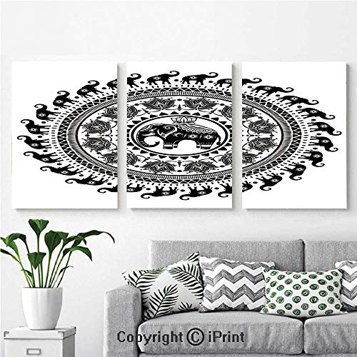 Wall Art Decor 3 Pcs High Definition Printing Seven Royal Symbols and a Guardian of Temples Spirit Animal Circle Painting Home Decoration Living Room Bedroom Background,16