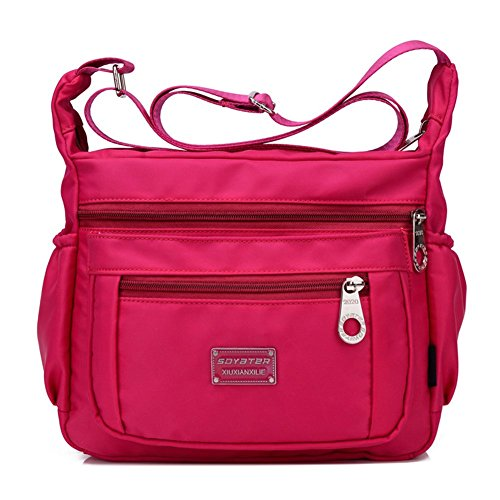 Soyater Nylon Crossbody Shoulder Bag, 9 Pockets (Rose)
