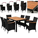Rattan Dining Table and Chairs Set Garden Furniture 6 Seater Wooden Acacia Rectangular Patio Conservatory Black Brown + Seat Cushions