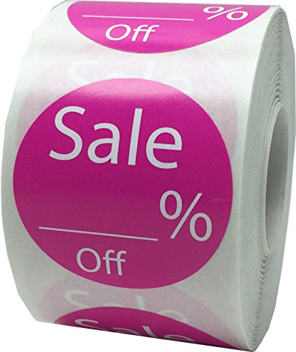 InStockLabels Writable Sale Percent Off Labels 1 1/2 Inch 500 Adhesive Stickers, Hot Pink
