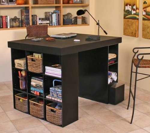 Venture Horizon 1151 Craft & Project Center desk -Top with 1 Bookcase & 3 Bin Cabinet