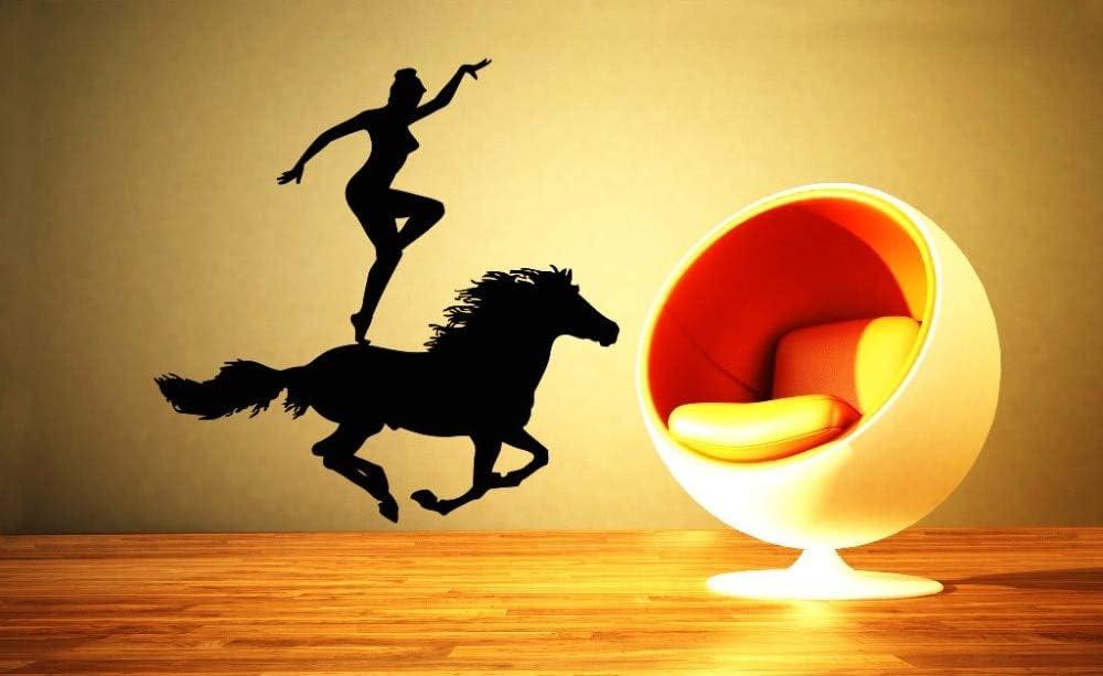 hetingyue Mujer Fresca con su Caballo acrobático Silueta Vinilo Pared Pintura Cartel Creativo decoración del hogar Dormitorio Mural 85x85 cm