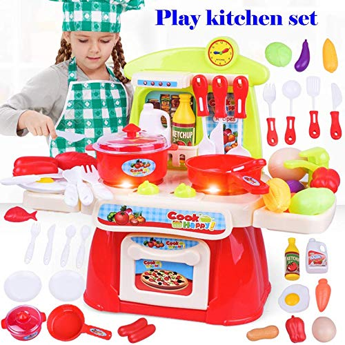 Natasa Pretend Play Kitchen Set Kids Cookware Playset with Lights and Sounds Cooking Set (Red)