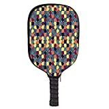 Retro Fashion Racket Cover,Pastel Color Circular Shapes in Squares Mosaic Pattern Modern Geometric Illustration for Playground,8.3″ W x 11.6″ H