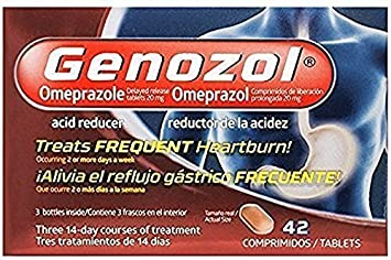 Genozol Acid Reducer, Omeprazole 20 mg, 42 Tablets