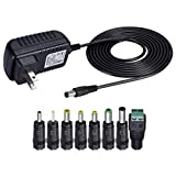 SoulBay 12V 1A AC Adapter Charger Replacement w/8 tips, Regulated Power Supply Cord for LED Strip Light, CCTV Camera, BT Speaker, GPS, Webcam, Router, with ETL and PSE Certificate