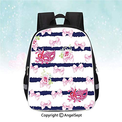 (Nylon Fabric Backpack,Venetian Style Carnival Masks on Stripes with Satin Bows Roses Flowers,13