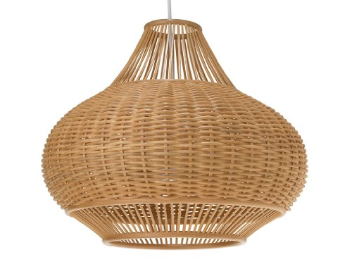 KOUBOO 1050029 Wicker Pear Pendant Lamp, 18