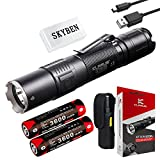 Klarus XT2CR 1600 Lumens CREE XHP35 HD E4 LED Multi-mode Dual-switch USB Rechargeable Tactical Flashlight, with 2 x 18650 Battery,USB Charging Cable,Holster,O-ring and SKYBEN Battery Case