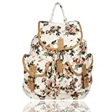 Whiteflower Canvas Floral Print Backpack (White)