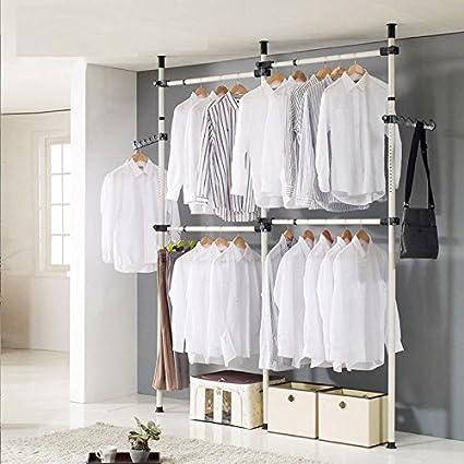Clothes Rack 3 Poles 4 Bars Heavy Duty Clothing Rack Adjustable