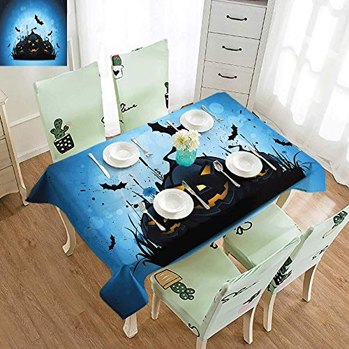 DILITECK Polyester Tablecloth Halloween Scary Pumpkins in Grass with Bats Full Moon Traditional Composition Easy to Clean W60 xL102 Black Yellow Sky Blue]()