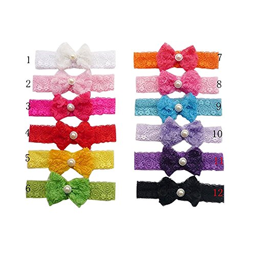 Dealzip Inc 12 PCS Lovely Pearl Embellished Rose Pattern Lace Bowknot Design Lace Band Headbands Hair Accessories for Baby Infant (Bowknot Embellished Short)